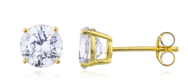 925 Sterling Silver Goldtone w/ Clear Cz Stone Round Stud Earrings