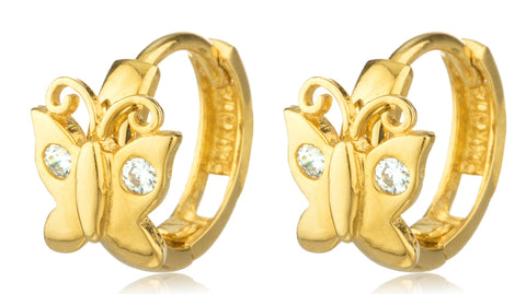 14k Gold Butterfly 10mm Huggie Earrings With Cz Stones