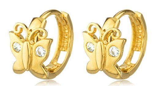 14k Gold Butterfly 10mm Huggie Earrings...