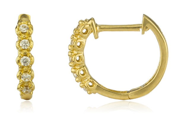 14k Gold Simple 9.5mm Huggie Hoop Earrings