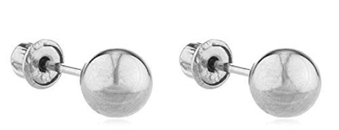 14k White Gold Screw Back Ball Earring Studs - All Sizes Available