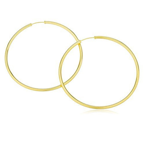 14k Yellow Gold 2mm Endless Hoop Earrings - 25mm - 80mm Available!