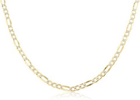 "14k Yellow Gold 3.2mm Pave Figaro Chain - 18"" - 24"" Available"