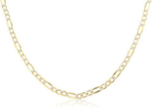 14k Yellow Gold 3.2mm Pave Figaro...