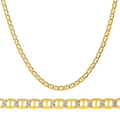 "14k Yellow Gold 3.3mm Pave Mariner Chain - 18"" - 24"" Available"