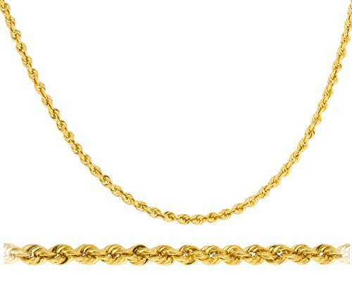 "14k Yellow Gold 3mm D-cut Rope Chain Necklace - 20"" 22"" 24"" 26"" & 30"" Available"