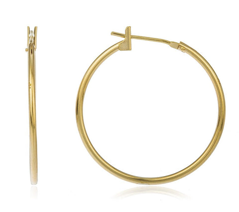 14k Yellow Gold Basic 25mm Click Hoop Earrings - All Sizes Available