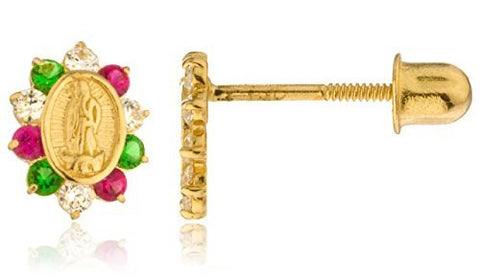 14k Yellow Gold Mother Mary Coin Charm With Multi Color Cz Screw Back Stud Earrings