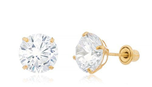 14K Yellow Gold Round Cz Stud Screw Back Earrings