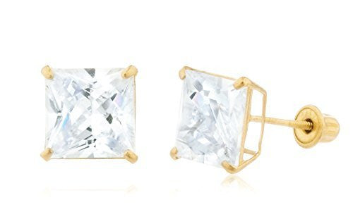 14K Yellow Gold Square Cz Stud Screw Back Earrings
