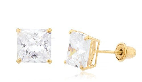 14K Yellow Gold Square Cz Stud...