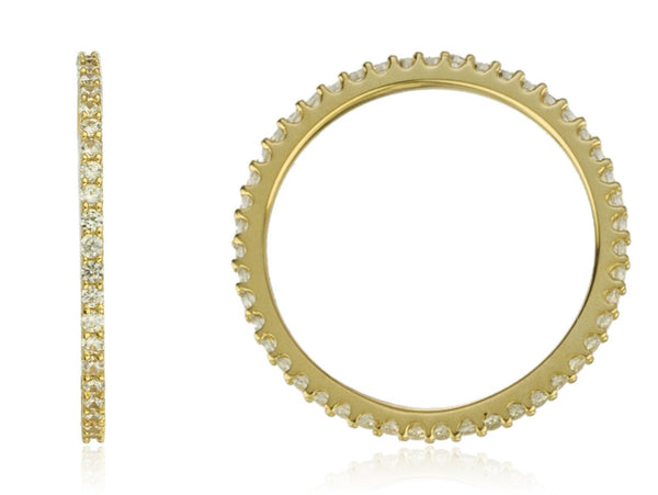 14k Yellow Gold With Clear Stones Eternity Ring Band