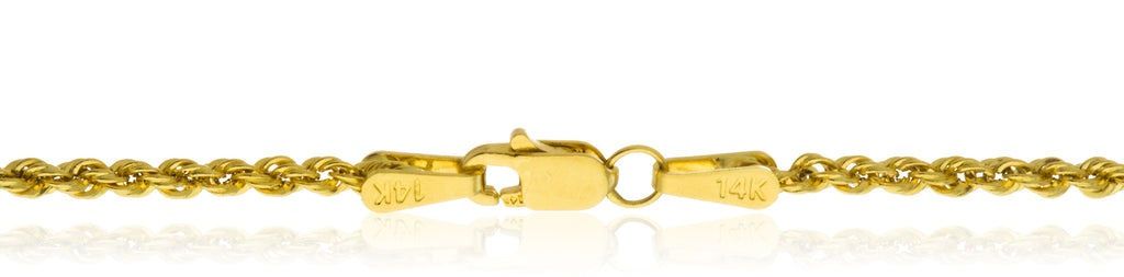 14K Yellow Gold 2mm Solid D-cut...