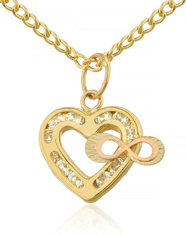Chain Necklace with Heart & Infinity Pendant