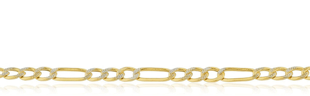 14K Gold Pave Figaro Chain 1.5mm...
