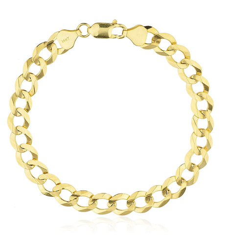 14k Yellow Gold Solid Cuban Chain 8 Inch 8mm Bracelet