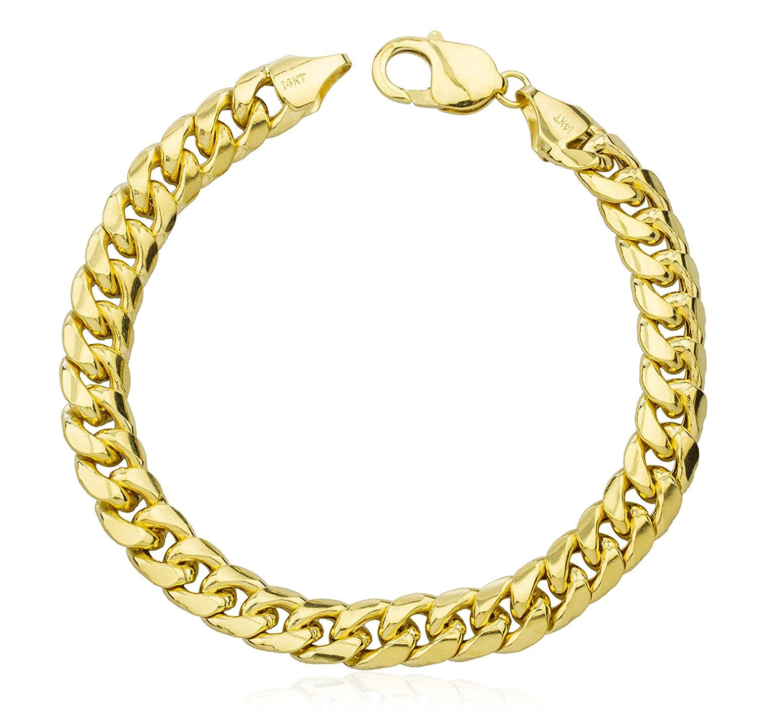 inch new hollow image yellow gold bracelet jewellery figaro link