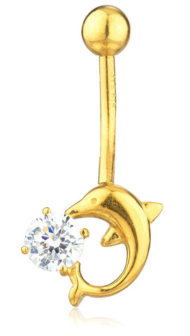 Gold Belly Button Ring Dolphin with CZ Stone