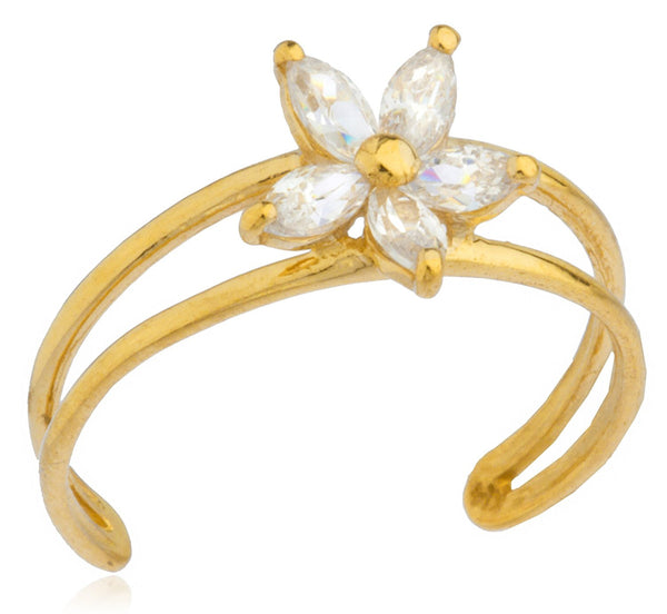 Flower with CZ Stones Toe Ring
