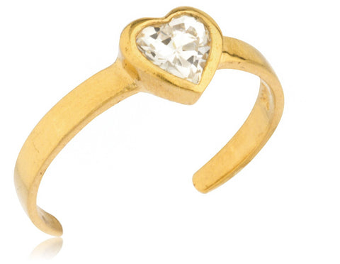 Heart with Stone Toe Ring