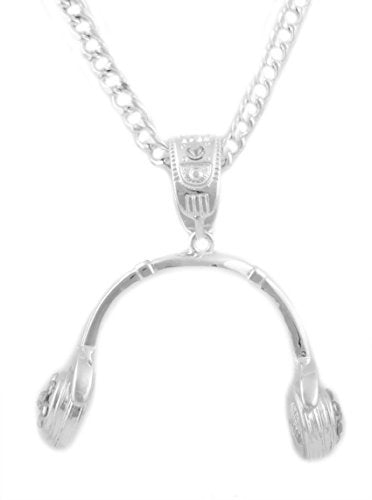 Silvertone Iced Out 3D Headphone Pendant with a 6mm 36 Inch Adjustable Cuban Chain