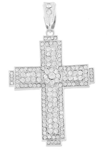 Silvertone with Clear Iced Out Center Disc Cross Pendant