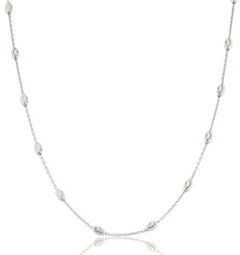 1mm Rhodium Plated Sterling Silver Anchor Chain With Oval Moon Cut Beads
