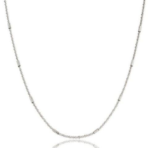 1mm Rhodium Plated Sterling Silver Rock Tube Chain