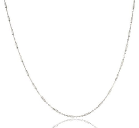 1mm Rhodium Plated Sterling Silver Tube Bright Chain