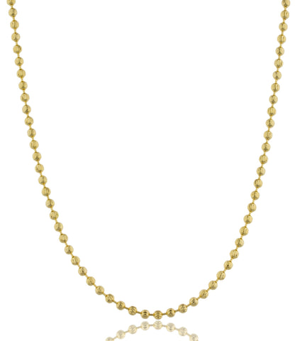 2.5mm 30 Inch Moon Cut Beaded Necklace (Goldtone)