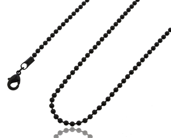 2.5mm 30 Inch Moon Cut Beaded Necklace (Jet Balck)