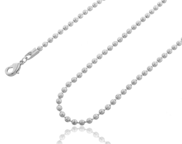 2.5mm 30 Inch Moon Cut Beaded Necklace (Silvertone)