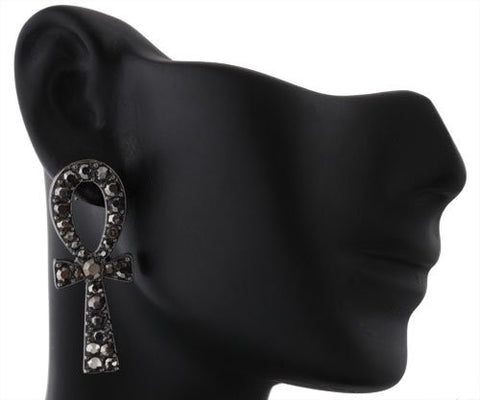 2 Pairs Of Black Iced Out Ankh Cross Stud Earrings