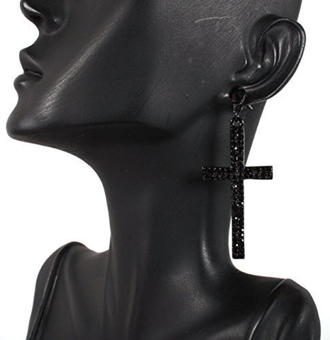 2 Pairs Of Black Iced Out Cross Studded Drop Earrings