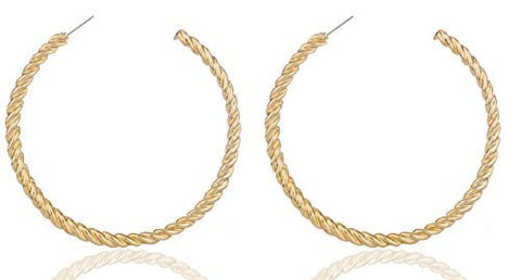 2 Pairs Of Goldtone 3.15 Inch Rope Style Hoop Earrings