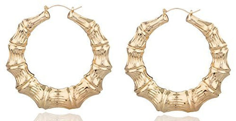 2 Pairs Of Goldtone 3.25 Inch Bamboo Style Hoop Earrings