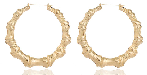 2 Pairs Of Goldtone 4 Inch Large Bamboo Hoop Earrings
