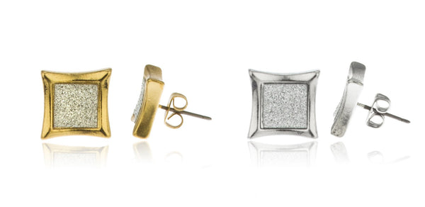 2 Pairs Of Goldtone And Silvertone Sandblast 12mm Square Stud Earrings