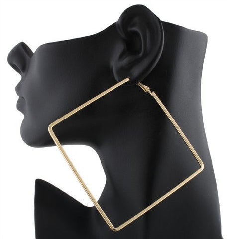 2 Pairs Of Goldtone Square Shape Dangle Earrings