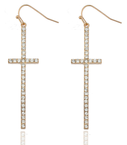 2 Pairs Of Goldtone With Clear Iced Out Ellongated Style Cross Dangle Earrings