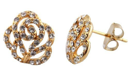 2 Pairs Of Goldtone With Clear Iced Out Multi Swirl Style Flower Stud Earrings