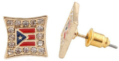 2 Pairs Of Goldtone With Red And Blue Iced Out Puerto Rico Flag Stud Earrings