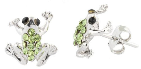 2 Pairs Of Ladies Silvertone With Green Iced Out Frog Stud Earrings
