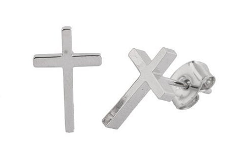2 Pairs Of Metallic Silvertone Cross Stud Earrings
