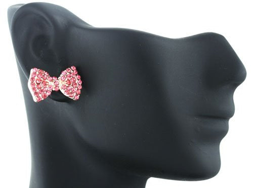 2 Pairs Of Rose Goldtone With Pink Iced Out Mini Style Bow Stud Earrings