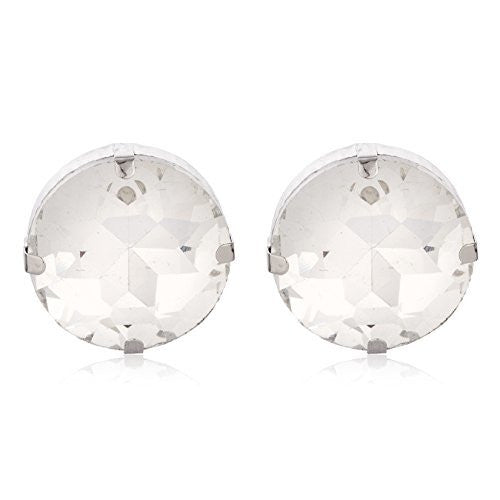 2 Pairs Of Silvertone 'Crystal Clear' Round Cylinder Earrings