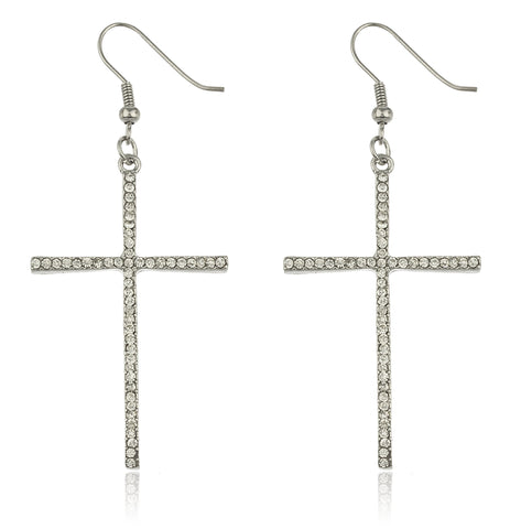 2 Pairs Of Silvertone Thin Cross Drop Earrings With Stones