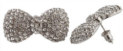 2 Pairs Of Silvertone With Clear Iced Out 3D Bow Tie Stud Earrings