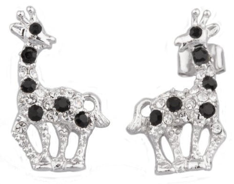 2 Pairs Of Silvertone With Multicolors Giraffe Stud Earrings