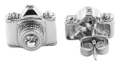 2 Pairs Of Silvertone With White And Clear Camera Center Stone Lens Style Stud Earrings